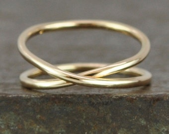 Gold Infinity Ring, 14K Yellow Recycled Gold Hand Forged Ring, Unique, Sea Babe Jewelry