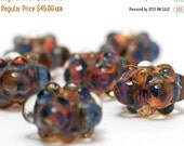 ON SALE 35% OFF On Sale 50 Percent Off Handmade Glass Lampwork Beads - Six Multi-Colored Rondelle Beads - Bubbly Raised 10504001