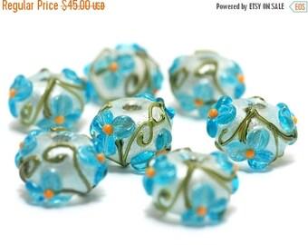 ON SALE 35% OFF Handmade Glass Lampwork Bead Sets  - Seven Maya Blue Flower Rondelle Beads  - 10411301