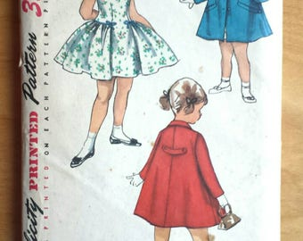 Simplicity 1503 Vintage 60's Girls Dress and Coat Sewing Pattern Size 2