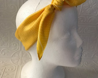 Vintage yellow rockabilly scarf with white polka dots