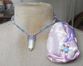 Beaded Quartz Crystal Point Wand Necklace Medium Size with Rose Quartz Amethyst Blue Rainbow Quartz Semiprecious Stone Gemstone Beads
