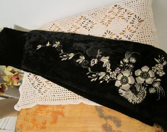 Black Scarf  Newport News Velvety  Long Scarf with Embroidery