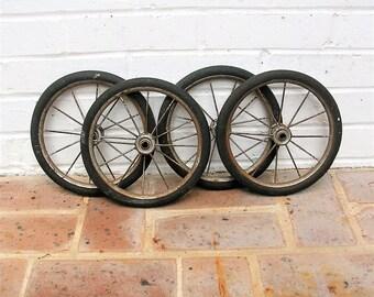 Vintage Wagon Wheels Vintage Baby Buggy Wheels Carriage Wheels With Metal Spokes