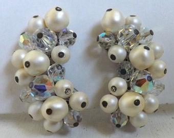 Vintage Laguna climber aurora borealis clear cluster beaded earrings crescent pearl bridal wedding jewelry