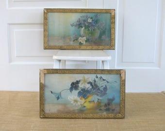 Vintage Floral Framed Print, Victorian Floral Print, Shabby Cottage Chic Flowers, Pair Floral Prints, Vintage Florals Purple, Victorian Art