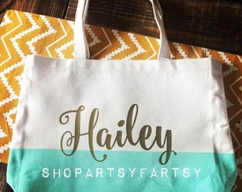 Tote bag with Cream and turquoise canvas bag and custom wording in Metallic Gold or Hot Pink!