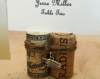 Wine Cork Place Card Holders 2 Cork Bundles w/ Twine & Wine Bottle Charm for Wedding Rehearsal Dinner Wine Event Vineyard Party Favor