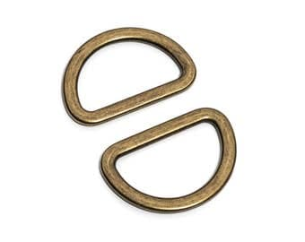 "100pcs - 1 1/4"" (32mm) Flat Zinc D-Ring - Antique Brass - (FDR-114) - Free Shipping"