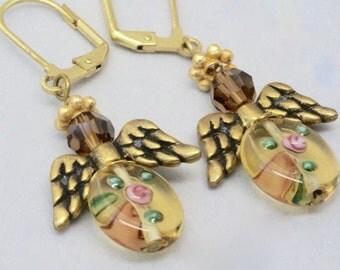 Heavenly Angel Earrings, Floral Earrings, Guardian Angel Gift for Best Friend, Angel Wings Jewelry, Angel Jewelry, Thank you gift for helper