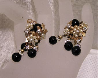 Vintage Clip On earrings by Miriam Haskell or Robert DeMario. Faux Pearl, Black Bead, Rhinestones and Filigree with Wired Construction (D12)