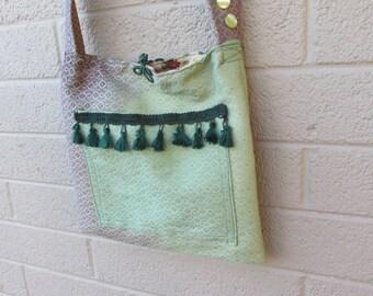 green and purple tie dye hippie purse boho fringe bag