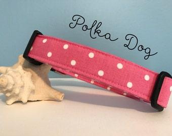 Pink and White Polka Dots Adjustable Dog Collar