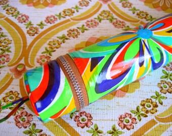 Vintage 1970s Multi-Coloured Knitting Needle Case