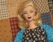 Handmade Basic Barbie Two Tone Peasant Style Doll Dress