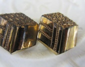 Vintage Button- 4 beautiful Art Deco  black with gold accents, geometric design very old, Collector glass buttons (jan 143-17)