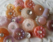 Vintage buttons, lot of 21 assorted pink solitaire acrylic with rhinestones designs,  (apr   44 17 )