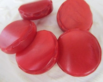 Vintage Buttons - 5 matching large novelty red celluloid, 1960's (jan 80-17)