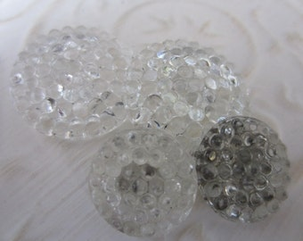 Vintage Buttons - lot of clear  hobnail glass matching novelty small  lot of 4, 2 are matching (jan 105-17)