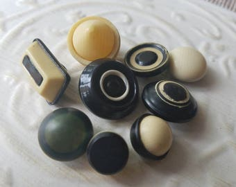 Vintage Buttons - Lot of 9 Mid Century Modern assorted black and off white and celluloid, novelty, 50's Retro, (may 13 17)