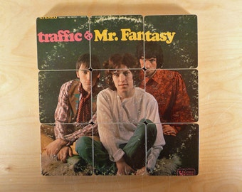 Traffic recycled Mr Fantasy music album cover wood coasters and record bowl