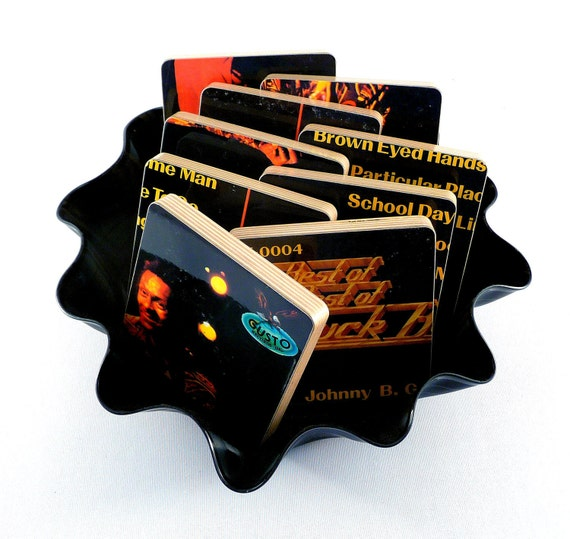 Chuck Berry recycled The Best of the Best music album art wood coasters and vinyl bowl