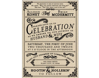 """Rustic Wedding Invitations - Vintage Antique Victorian French Country Rustic """"Poster Style"""" Wedding Invites"""