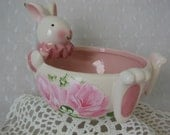 Easter Bunny Dish Bowl Hand Painted Pink Roses Spring decor