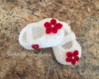 Newborn Mary Janes shoes... newborn booties.. crocheted shoes.. ready to ship