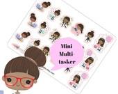 Planner Stickers Sampler #1 Task Fitness Work PayDay Birthday Coffee African American Emoji Kawaii Girl