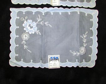 Vintage 50s made by Schweizerfabrikat embroidered blue nylon dresser scarf pair (two) 18X13 never used
