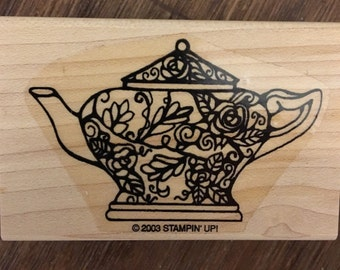 Stampin Up Rare Wood Mounted Rubber Stamp Decorative Teapot