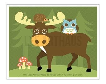 29A Moose Print - Moose, Hedgehog and Owl Wall Art - Moose Decor - Woodland Wall Art  - Owl Print - Moose Wall Art - Woodland Nursery Art