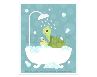 41A Bathroom Print - Turtle in Bathtub Wall Art - Bathroom Picture - Bathroom Artwork - Turtle Print - Turtle Wall Art - Turtle Decor