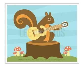 123A Squirrel Wall Art - Squirrel Playing Guitar Wall Art Print - Guitar Nursery Art - Squirrel Wall Art - Guitar Decor - Boy Nursery Art