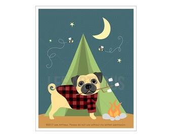 22D Dog Print - Pug Dog Camping Wall Art - Dog Nursery - Dog Wall Art - Pug Art - Pug Print - Pug Drawing - Camping Decor - Cabin Home Decor