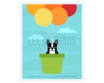 55D Dog Print - Boston Terrier in Hot Air Balloon Wall Art - Balloons Print - Dog Prints - Boston Terrier Print - Art for Children - Dog Art