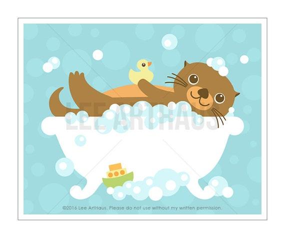 24A Bath Print - Otter in Bathtub Wall Art - Otter Drawing - Otter Print - Otter Art - Bathroom Decor - Bathroom Wall Art - Art for Children