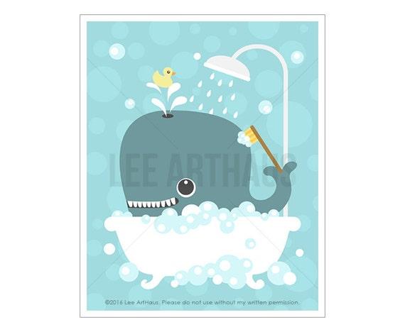 39A Bathroom Print - Whale in Bubble Bath Wall Art  - Bath Art - Nautical Nursery Print - Whale Print - Bathroom Art - Art for Bathroom