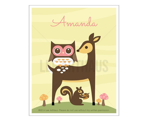 122P Deer Nursery Print - Personalized Owl with Deer and Squirrel Wall Art - Deer Print - Deer Wall Art - Custom Name Baby Girl Nursery Art