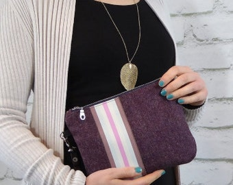 Wool wristlet with ribbon detailing and zipped fastening,  Leather strap wristlet for evening and day time,Birthday gift ideas, Unique bag