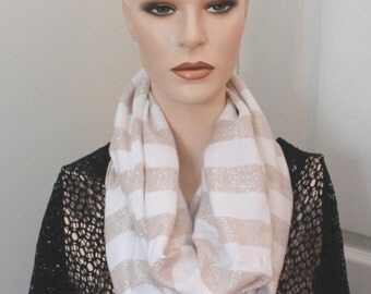 Upcycled Cream/Gold infinity scarf,cream/gold infinity scarf,infinity scarf,lightweight scarf,woman,teen,eternity scarf,night out scarf,