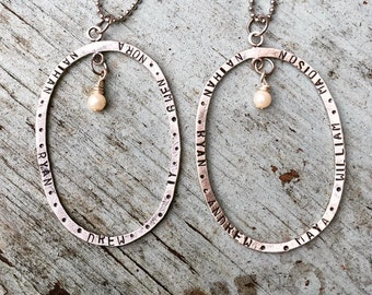 Full Circle Oval Pearl Drop Family Hand Stamped Necklace
