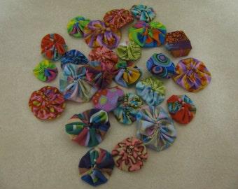 Kaffee Fasset cotton fabric Yo Yo's for crafting, embellishments, quilting  FREE shipping.