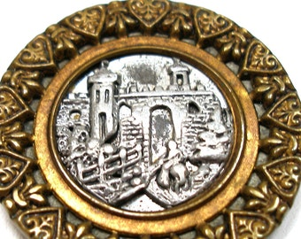 "Castle, XL Antique BUTTON, Victorain architectural picture button, 1 7/16""."