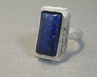 Natural Blue Lapis and Sterling Silver Artisan Handcrafted Ring, Chunky Lapis and Sterling Ring size 7
