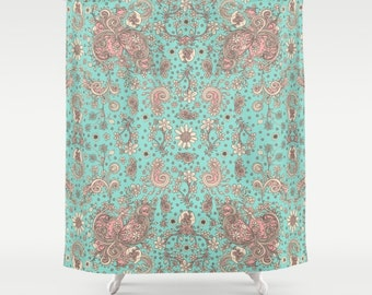 red and navy shower curtain. Shower Curtain Teal Pink Floral boho shower curtain shabby chic bathroom  accessories floral colorful Etsy