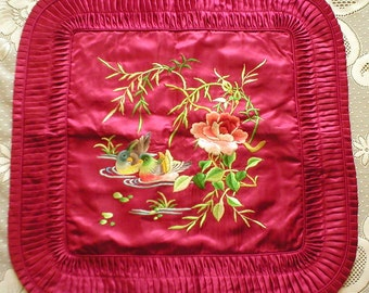 Pillow Cover Chinese Silk Embroidered Mandarin Ducks Rose Vintage