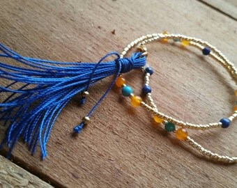 Double Wrapped Golden Seed Bead Turquoise Lapis Carnelian Bracelet with Heart Clasps and Tassel