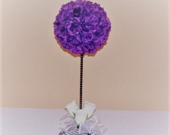 Wedding Topiary Wedding centerpiece silk Flower Kissing Ball Centerpiece wedding silk flower topiary pomander ball wedding centerpiece